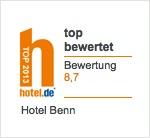 hotel.de: Hotel Benn top bewertet mit 8.5/10